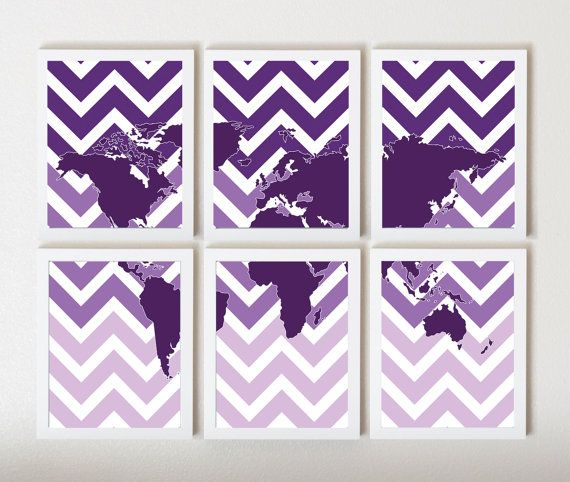 World Map on Ombre Chevron in Purple in 6 by ThirdFloorDesign, $55.00 - just bought for my future crafting room!