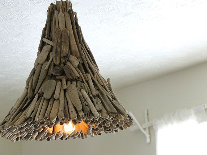 Driftwood light handmade  - This site shows 15 Ways to Decorate with TWIGS