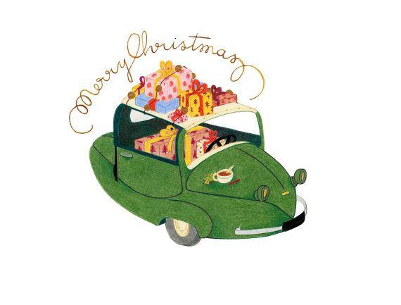 Carte Postale Christmas Greetings par OxmoLola sur Etsy