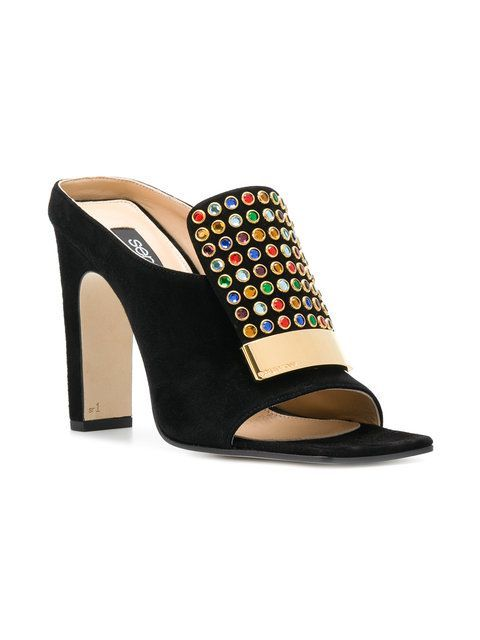 a5fe42d0d Shop Sergio Rossi Studded Open Toe Mules for  895. Fast Global Delivery