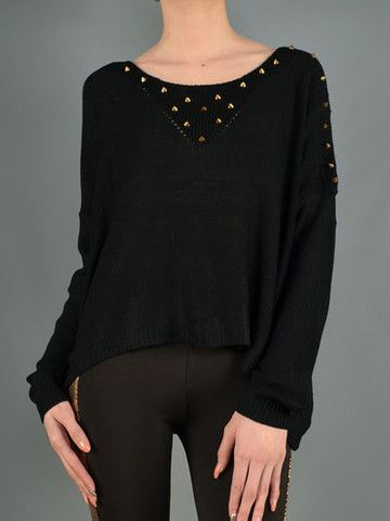 Wildflower | Boutique Gold Studded Sweater. Just the right amount of flare.