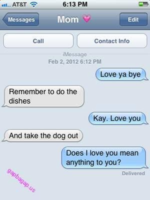 Funny Text About Mom vs Dishes