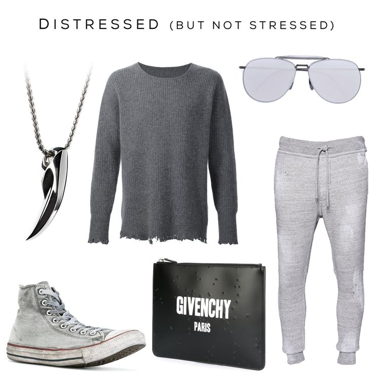 Distressed (but not stressed) Clockwise: Fenrir pendant by @svorndesign, Jumper by RTA, Aviator Sunglasses by Thom Browne, Sweatpants by Dsquared2, Pouch by Givenchy, Sneakers by Converse / #mensstyle #mensfashion #badass #distressed #mensaccessories #mensgivenchy #sneaker #luxury #style