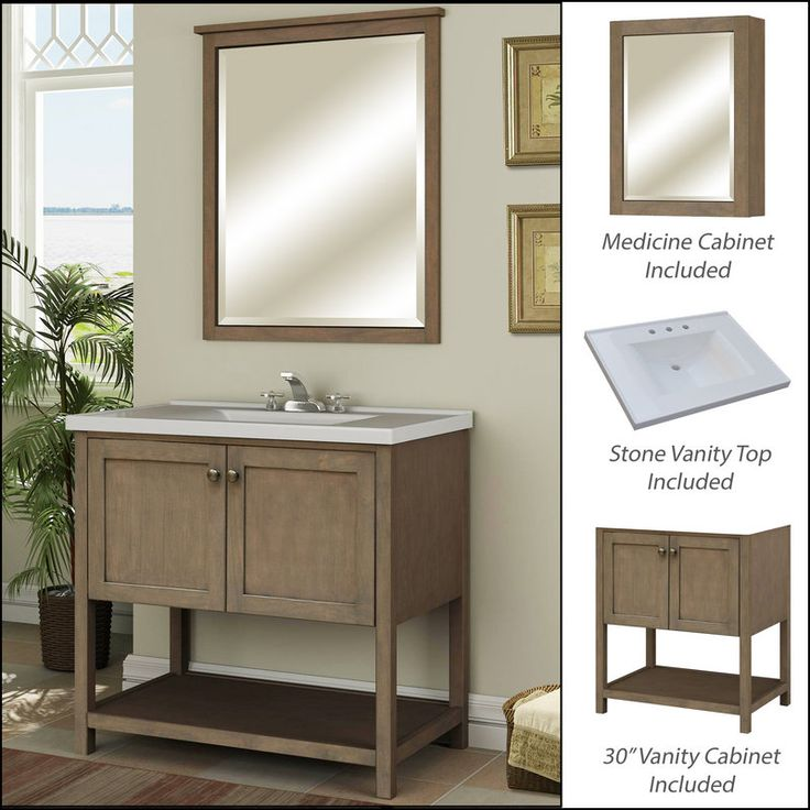 """View the Miseno MVAN30COM 30"""" Bathroom Vanity Set - Cabinet, Stone Top and Medicine Cabinet Included at FaucetDirect.com."""