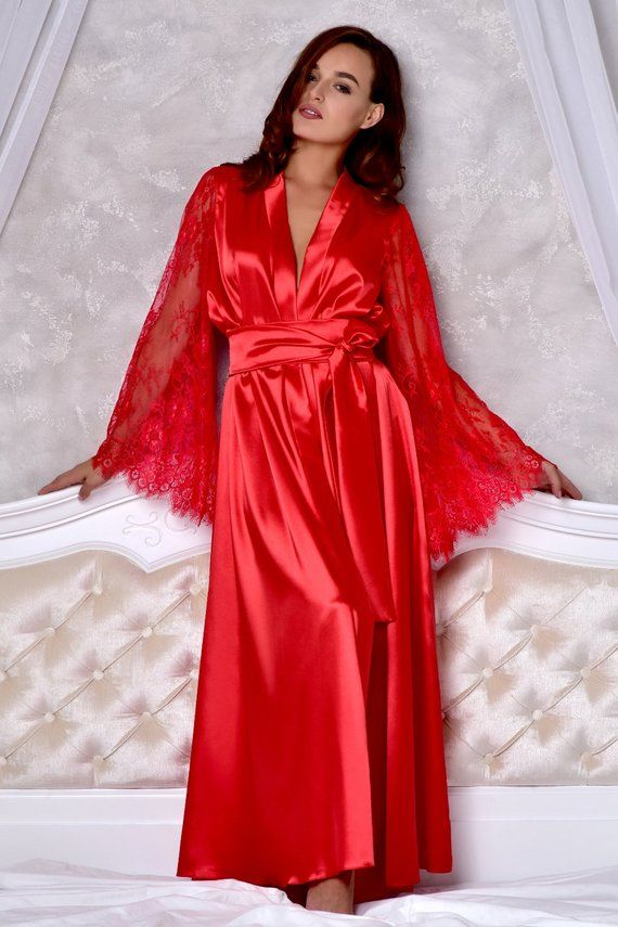 2fd0c986cf Valentines day gift for her Red sexy long robe with lace sleeves ...