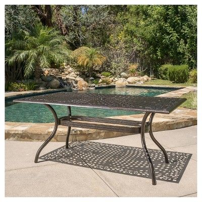 Phoenix Rectangle Cast Aluminum Table - Hammered Bronze - Christopher Knight Home