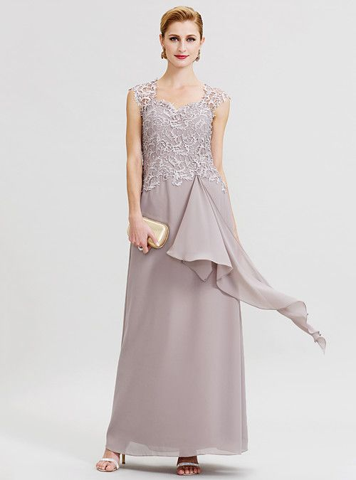 ff29d58aa4d2 Sheath / Column Queen Anne Floor Length Chiffon / Corded Lace Mother of the Bride  Dress with Ruffles / Pleats by LAN TING BRIDE® / See Through 2019 - US ...