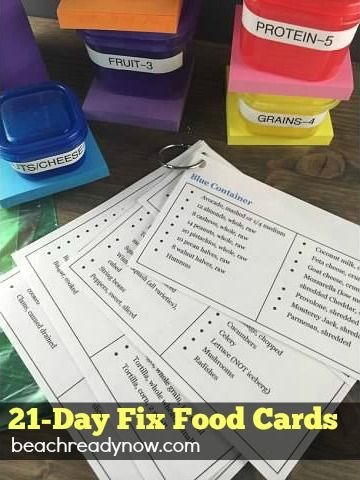 21-Day Fix Food Cards: Free Printables - Beach Ready Now