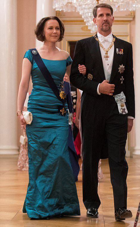 Crown Prince Pavlos of Greece and Finland´s President's wife Jenny Haukio arrive for a gala dinner at the Royal Palace in Oslo, Norway on May 9, 2017 to mark the 80th Birthday of the King and Queen.