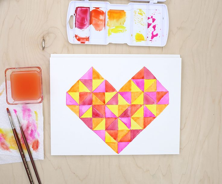 Learn how to paint this pretty watercolor heart using geometric shapes! @linesacross gives the tutorial for this watercolor painting project on our blog.