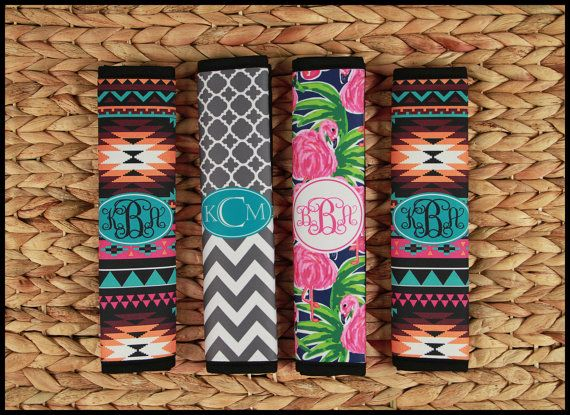 Seat Belt Cover Monogrammed Personalized Custom Monogrammed Gifts Cute Car Accessories for Women Seatbelt Cover Seat Belt Pad Monogram