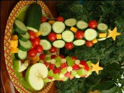 veggie christmas tree and fruit christmas tree - instructions