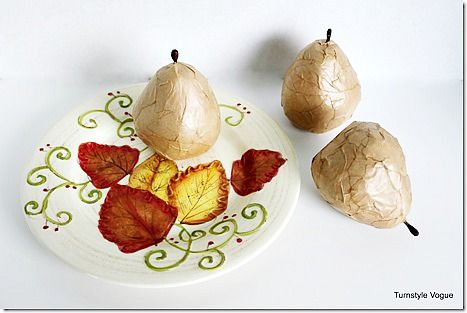 How to paper mache Pears using paper sack and Mod podge - Debbiedoo's