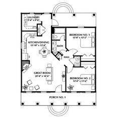 The Belle Creek Ranch Home has 2 bedrooms and 1 full bath. See amenities for Plan 028D-0023.