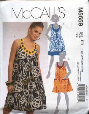 McCall's Sewing Pattern 5659 Womans Plus Size 18W-24W Loose Fitting Sleeveless summer Dress  $12.99