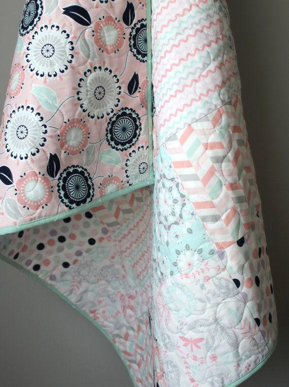 Floral Baby Quilt Mint Peach Navy Crib Quilt-Girl by GoBeWonderful