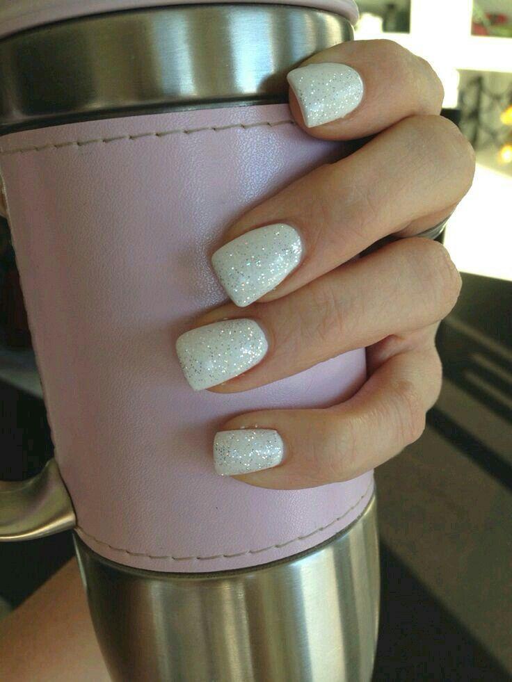Coffin Nails Designs 13 White Glitter Nails White Gel Nails White Sparkle Nails