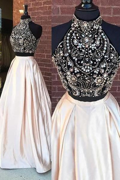 Elegant Two Pieces High Neck Beaded Cheap Long Prom Dresses-Pgmdress