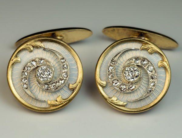 Antique Diamond Enamel Silver And Gold Cufflinks.......