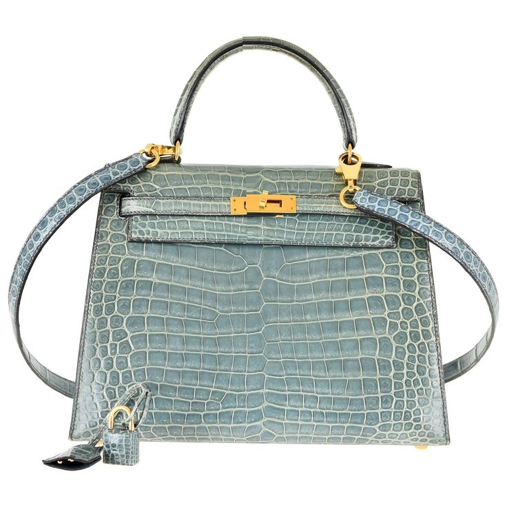 Hermes 25cm Kelly Crocodile Porosus Blue Jean Bag Gold Hardware JaneFinds | From a collection of rare vintage top handle bags at https://www.1stdibs.com/fashion/handbags-purses-bags/top-handle-bags/