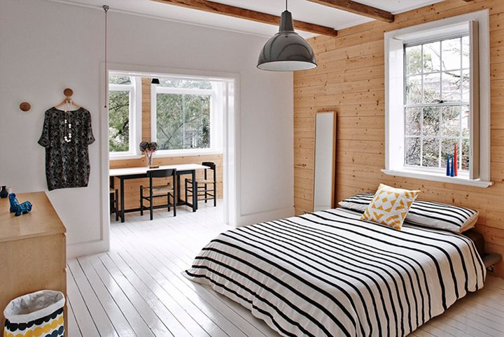 white and wood in the bedroom