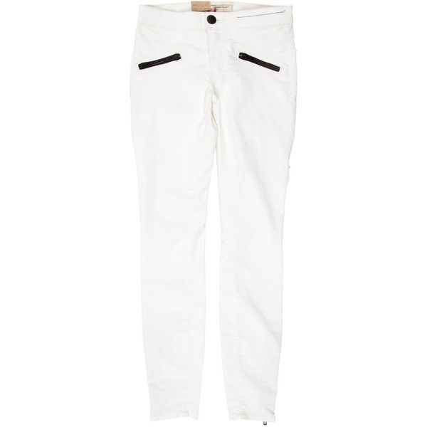 Pre-owned Current/Elliott The Soho Zip Stiletto Sugar Coated Low-Rise... ($50) ❤ liked on Polyvore featuring jeans, white, current elliott jeans, zipper pocket skinny jeans, low rise skinny jeans, cuffed skinny jeans and zip jeans