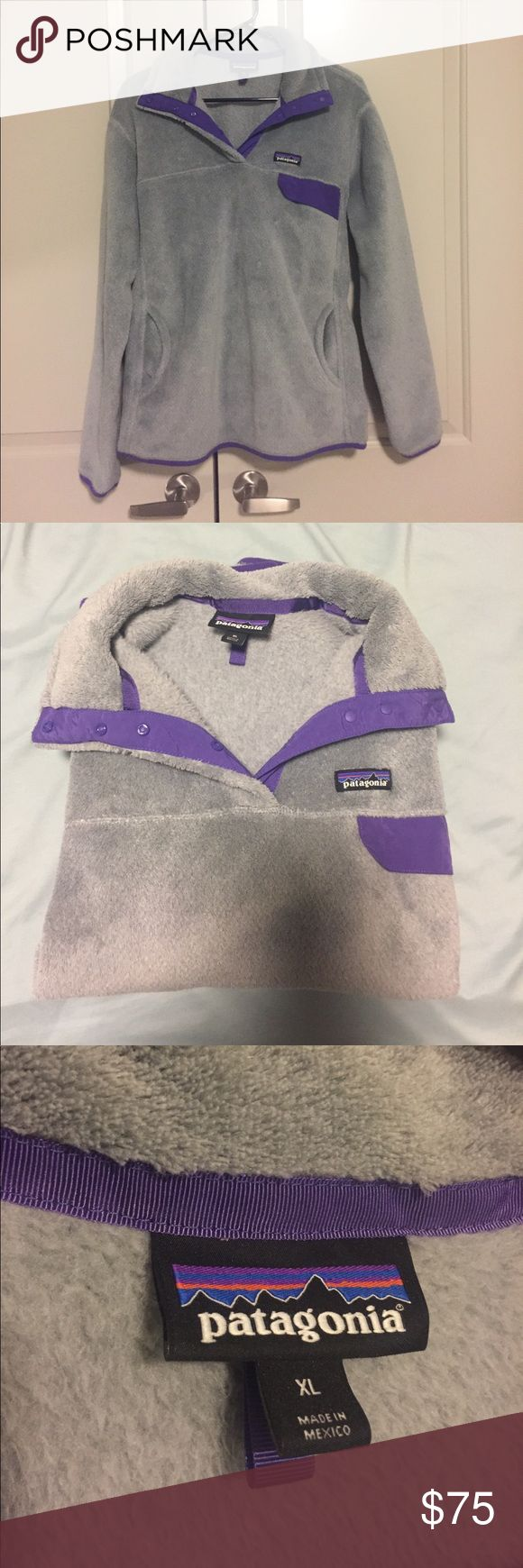Patagonia Re Tool Fleece - Purple and Grey - XL Super cozy Patagonia fleece jacket for sale! If you like for coats to fit a little oversized, then this is perfect for you! This jacket is grey and purple in color, with no stains, rips, picks or holes anywhere on the jacket. Very warm and cozy - effect for cooler weather. EUC - well taken care of!  Let me know if you have any questions!   🚫 Pets  🚫 Smoking Patagonia Jackets & Coats