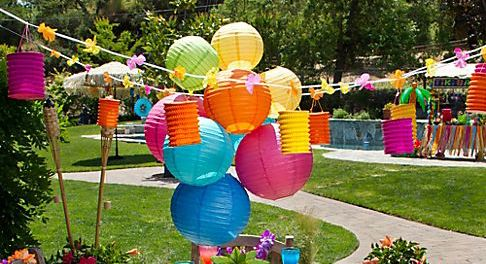 Hanging paper lanterns & leis  http://www.partycity.com/product/tiki+lantern+garland+12ft.do?sortby=ourPicks=all=true=109985