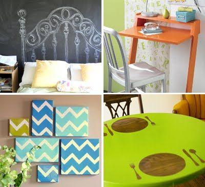 homeDiy Ideas, Decor Ideas, Canvas Paintings, Diy Desks, Diy Tutorials, Chevron Art, Chalkboards Headboards, Painting Tables, Diy Projects
