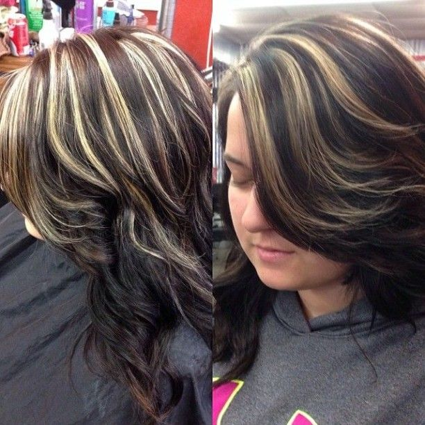 Dark Brown Hair Color With Blonde Chunky Hair Lights