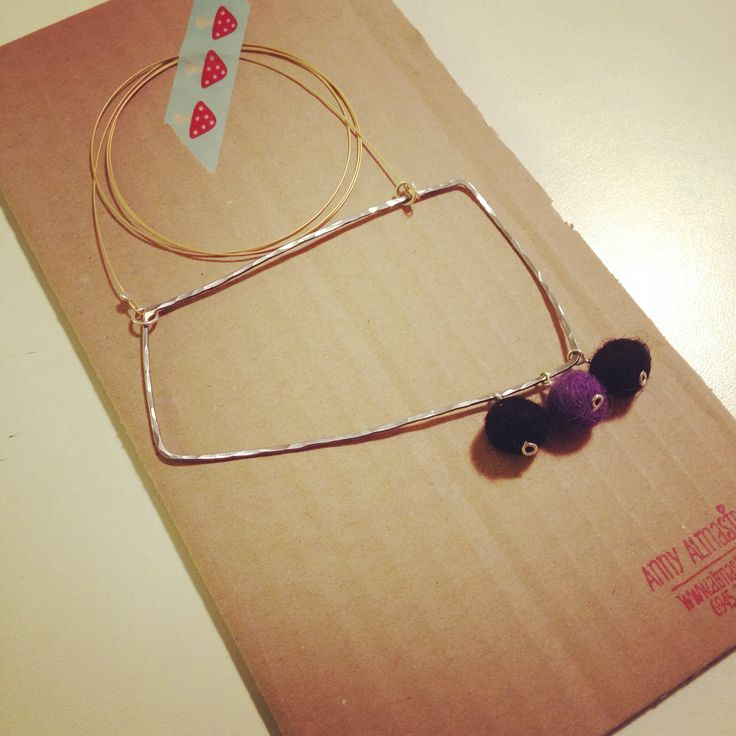 Gold plated long necklace with felt balls