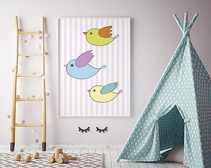 Digital birds * Beautiful poster * 4 children's room * Yellow, green, blue birds * Cute, colorful birds * Funny birds * Merry Gallery * by MerryGallery on Etsy