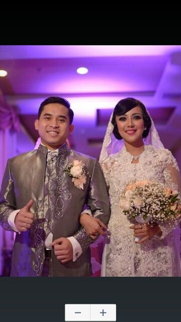 Wedding kebaya for the bride and basofi suit for the groom by georgea radji