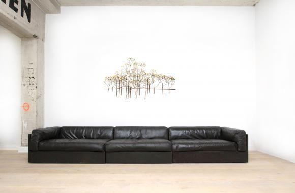 Black leather lounge sofa | Goldwood