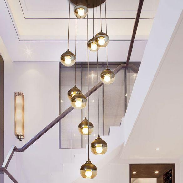 10 Light Hanging Lighting Simple Stair Multi Lamp Pendant With Globe Cognac Glass Shade In Black 110 Light Bulb Chandelier Hanging Lights Hanging Light Bulbs