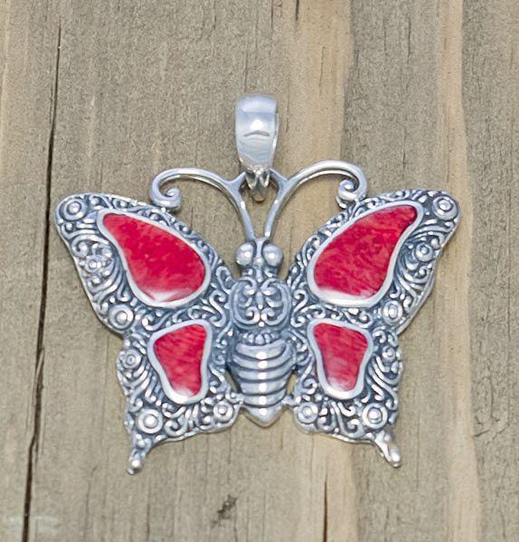 Серебряная подвеска с кораллом Бабочка