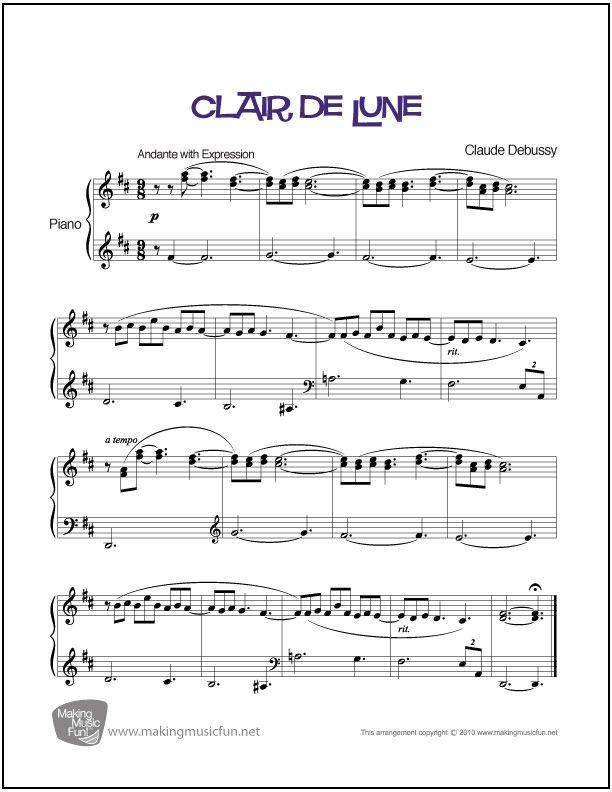 Clair de Lune (Debussy) | Sheet Music for Piano (Digital Print) http://makingmusicfun.net/htm/f_printit_free_printable_sheet_music/clair-de-lune-piano.htm