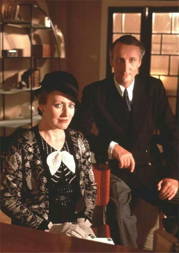 Pauline Moran and Hugh Fraser as Miss Lemon and Captain Hastings in POIROT.