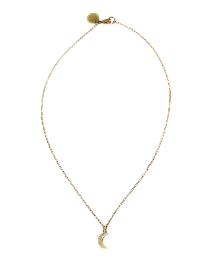 Little Luna - tiny and darling brass crescent moon charm necklace