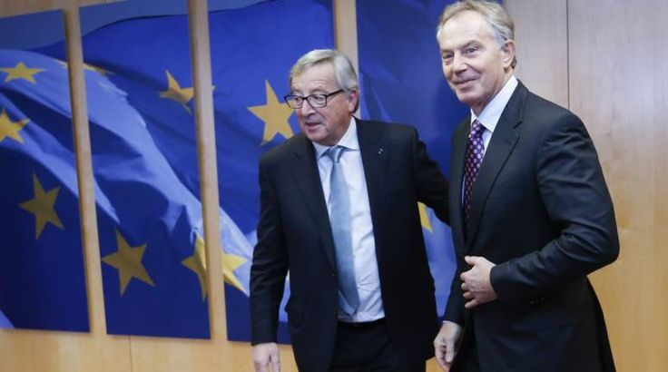 Tony Blair (R)  is welcomed by European Commission President Jean Claude Juncker (L) prior to a meeting in Brussels, Belgium, 20 January 2015