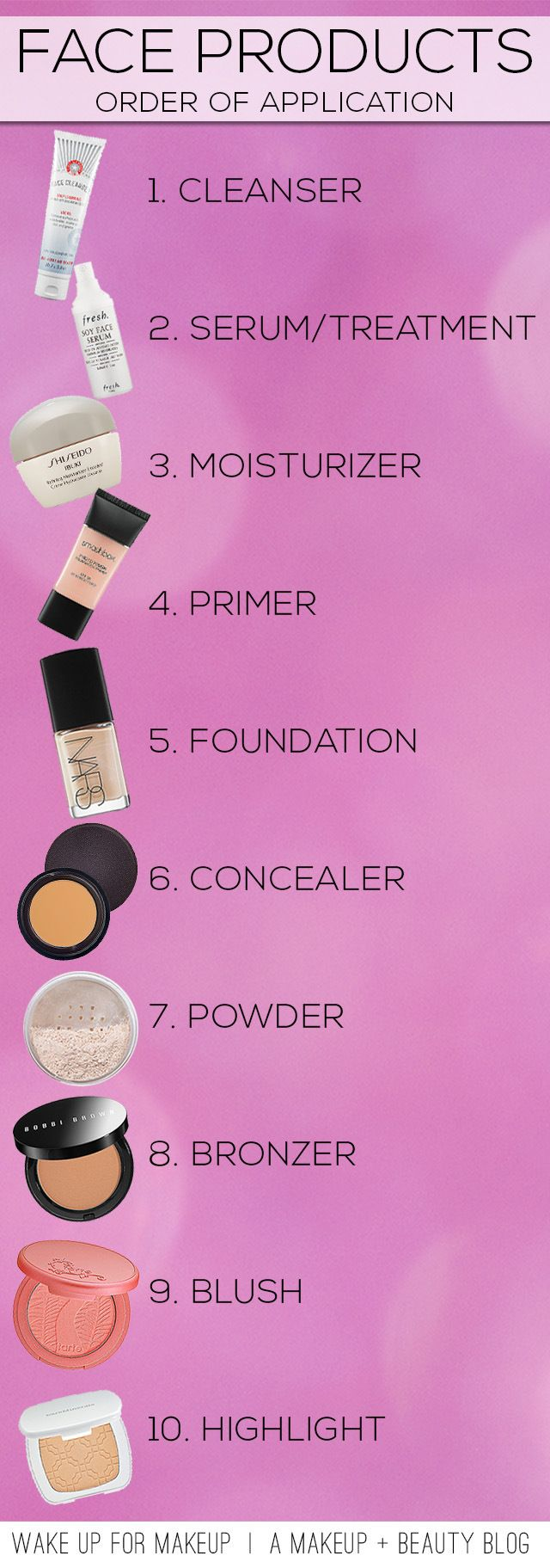 I do all these steps except primer, powder and highlighter in this order and my makeup does great!