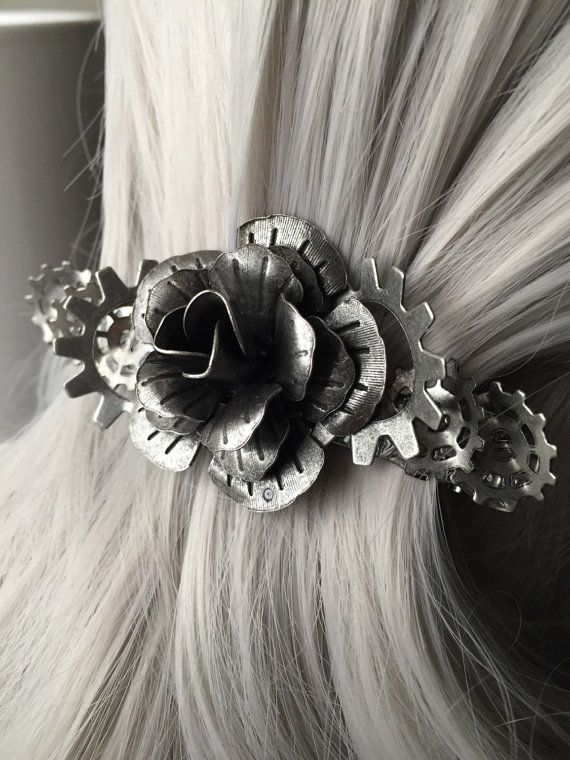 Hair Clip or Rose Hair Clips Women  Silver by ArcanumByAerrowae