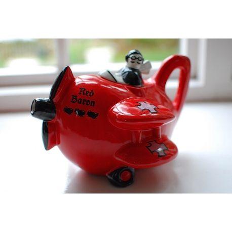 "Vintage Original 1980's Carlton Ware Novelty ""Red Baron"" Bi-Plane Aeroplane Teapot"