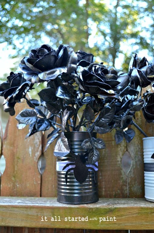 Fake flowers spray-painted black for Halloween