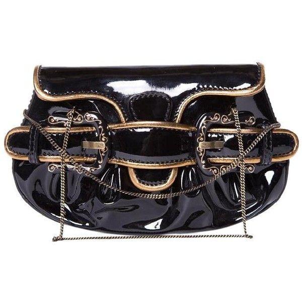 Fendi Black Gold Glazed Leather Handle Baguette ($329) ❤ liked on Polyvore featuring bags, handbags, clutches, gold handbags, fendi clutches, gold purse, handle handbag and fendi pochette