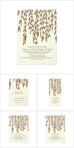 Modern Willow Tree Wedding Set Elegant and modern brown willow tree branches and natural leaves wedding invitations, RSVP cards, engagement party invitations, napkins, program cards, bridal shower invitations, save the date cards, and rehearsal dinner invitations for your romantic tree inspired outdoor wedding theme.