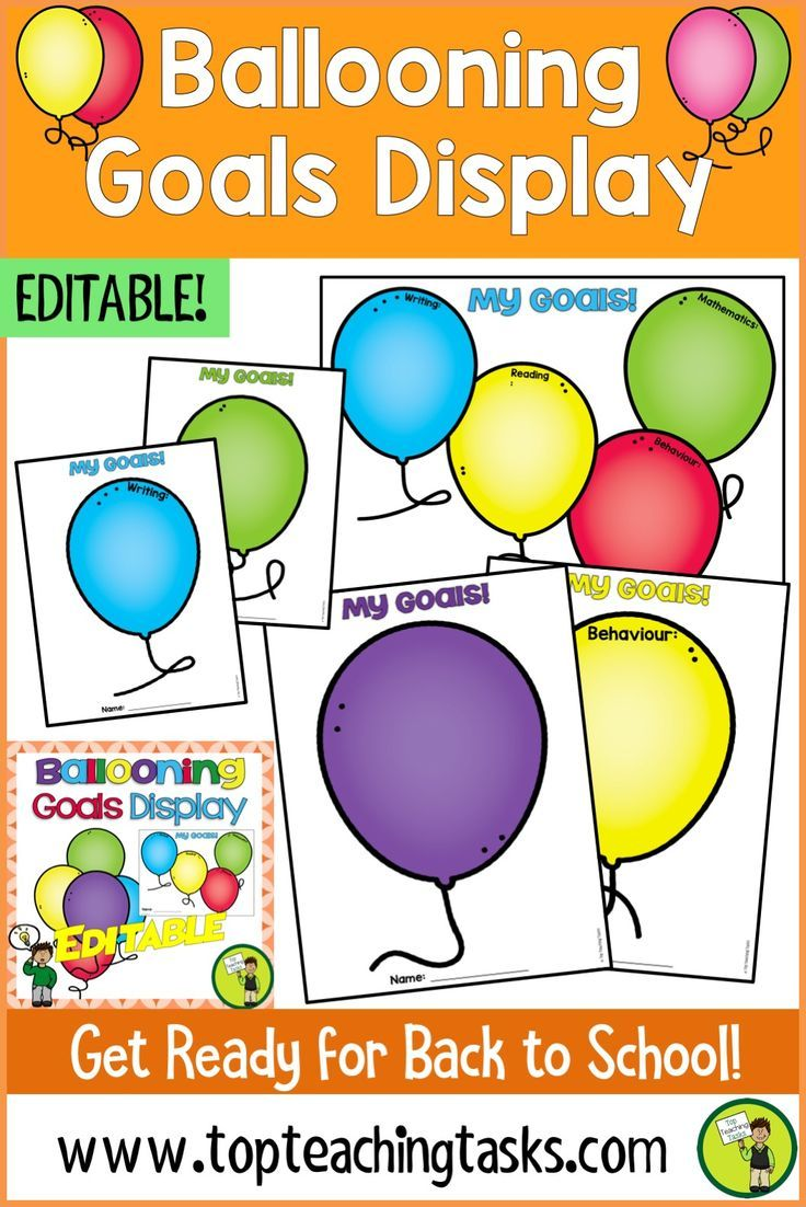 This Ballooning Goal Display is a great way to publicly display your students' goals. These balloon-themed posters are perfect for back to school goal setting in the classroom. #goals #goalsetting #backtoschool