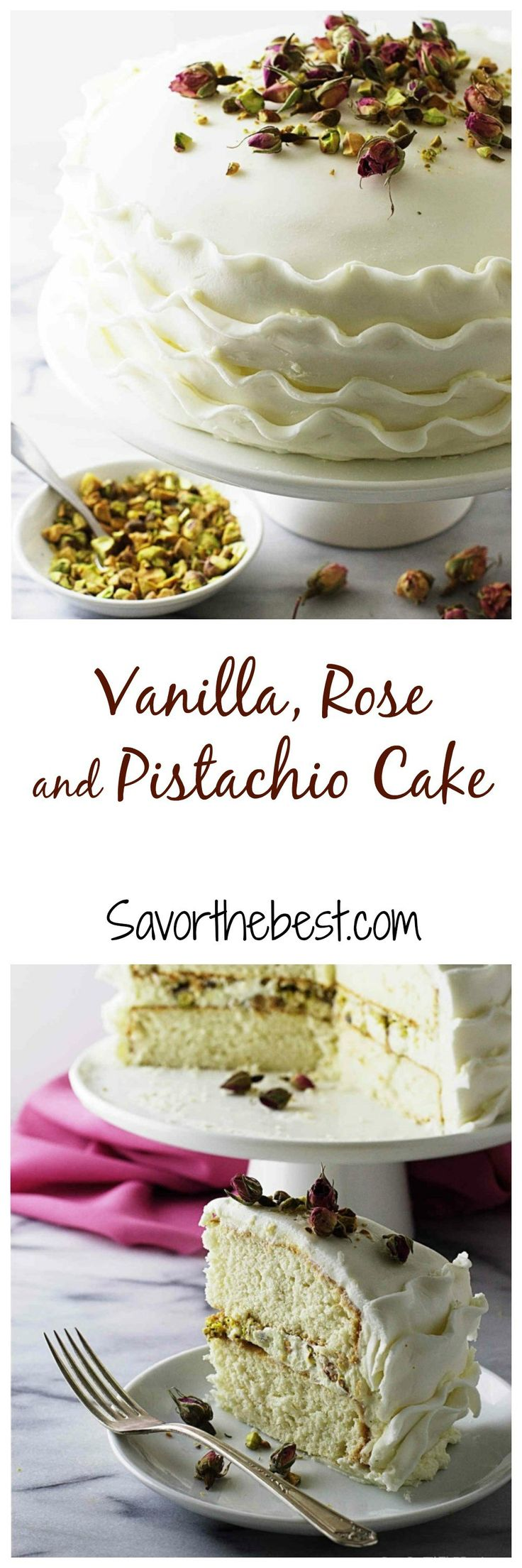 A pure white vanilla cake flavored with a thick rose and pistachio creamy filling, frosted with rose flavored buttercream and white fondant ribbons.   It…
