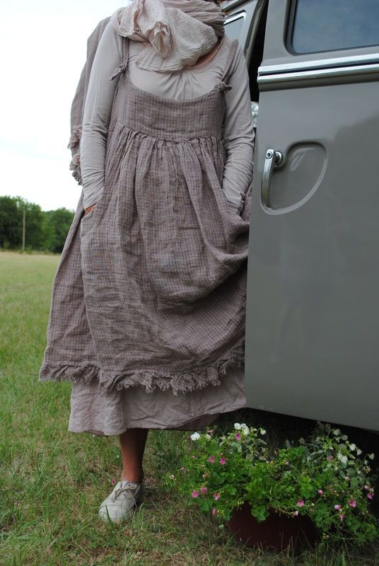 I particularly like the raw edged bias flounce at the hemline... in a small balanced plaid it adds a great detail