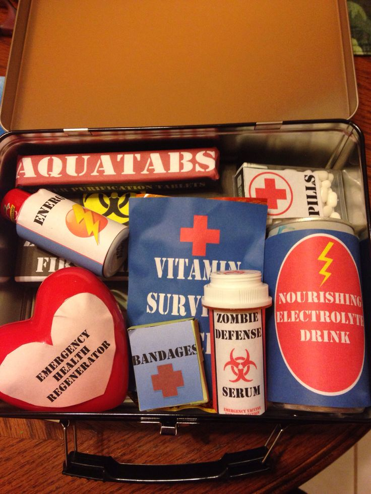 Zombie Apocalypse Survival Kit: all wrapped items are made out of different types of candies! (Tic tacs, hot tamales, chocolate bar, mini soda, starburst, etc...) At the bottom of the lunchbox/survival kit is Max Brook's book on surviving the zombie apocalypse. Some of the labels I downloaded from deviant art, while others I made myself on Microsoft word [it was the best software I had at the time].